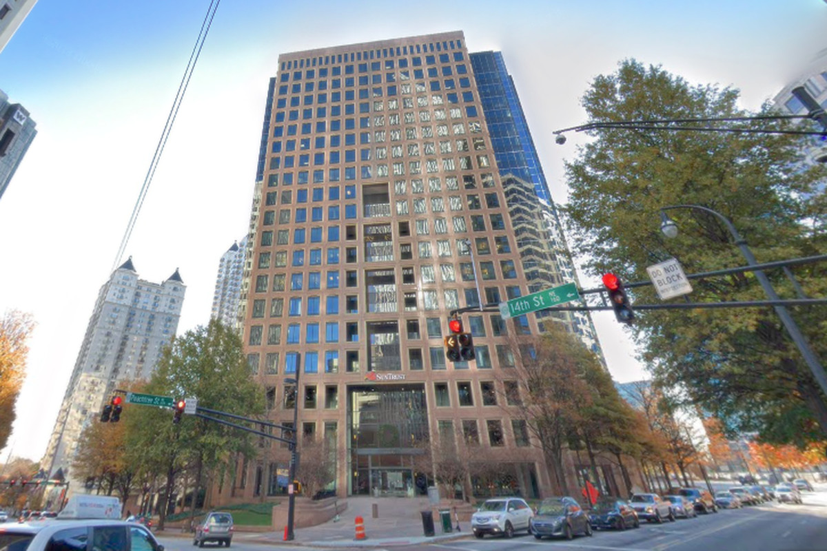 How the Campanile building currently meets Peachtree Street.