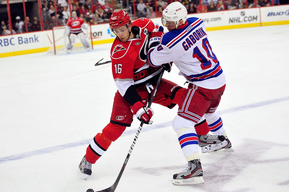 RALEIGH, NC - MARCH 01:  Marian Gaborik #10 of the New York Rangers knocks Brandon Sutter #16 of the Carolina Hurricanes off the puck during play at the RBC Center on March 1, 2012 in Raleigh, North Carolina.  (Photo by Grant Halverson/Getty Images)
