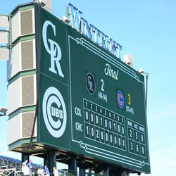4:04 p.m. Game totals, on the left field video board -
