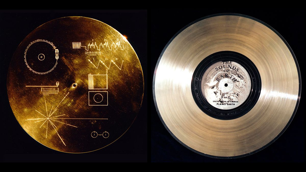 An image of NASA's Golden Record sent with Voyager 1 and 2 to describe life on earth to aliens