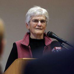Irene Fisher, former director of the Bennion Center, University of Utah, speaks as the Utah Citizens' Counsel announces its 2014 Assessment of Utah's Policy Progress in Salt Lake City, Wednesday, Dec. 10, 2014.