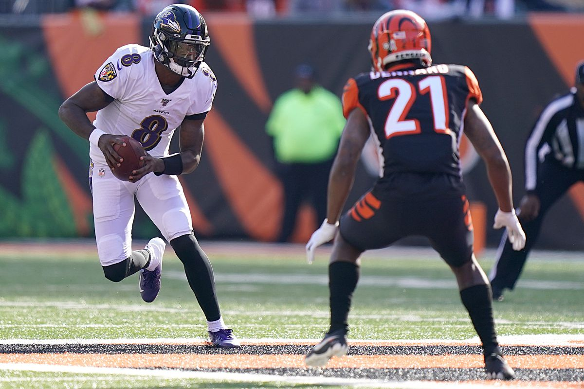 Lamar Jackson of the Baltimore Ravens runs with the ball during the first half of the NFL football game against the Cincinnati Bengals at Paul Brown Stadium on November 10, 2019 in Cincinnati, Ohio.