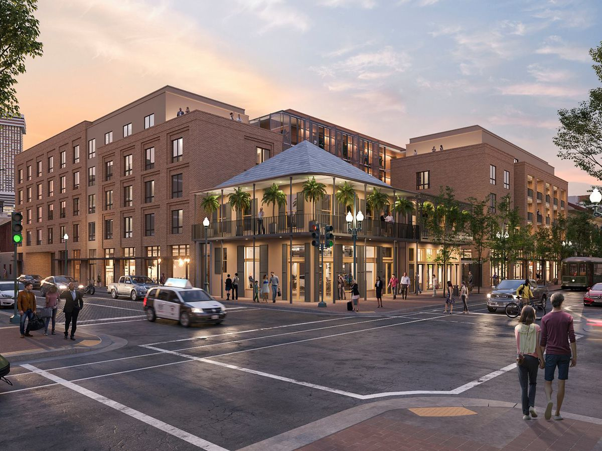 A rendering shows a large brick apartment building at a New Orleans intersection.