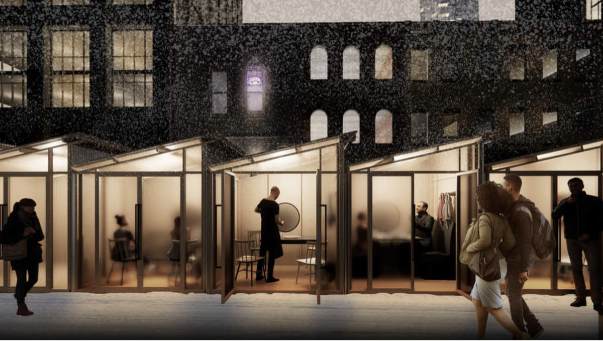 A rendering of a row of small, translucent rooms that contain a table and chairs. Snow is falling outside.