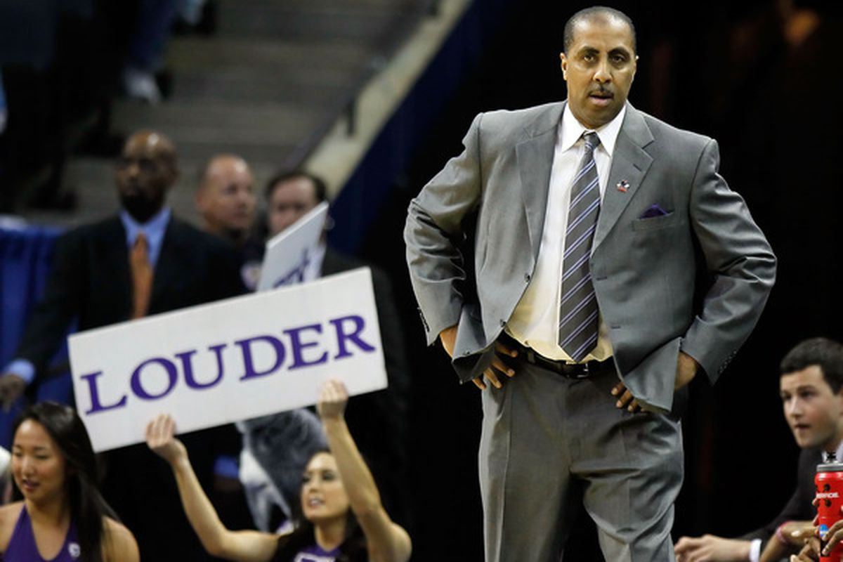 CHARLOTTE, NC - MARCH 20:  Head coach Lorenzo Romar of the Washington Huskies is worried his team may be bored with their success but not much about the Bruins.  (Photo by Kevin C. Cox/Getty Images)