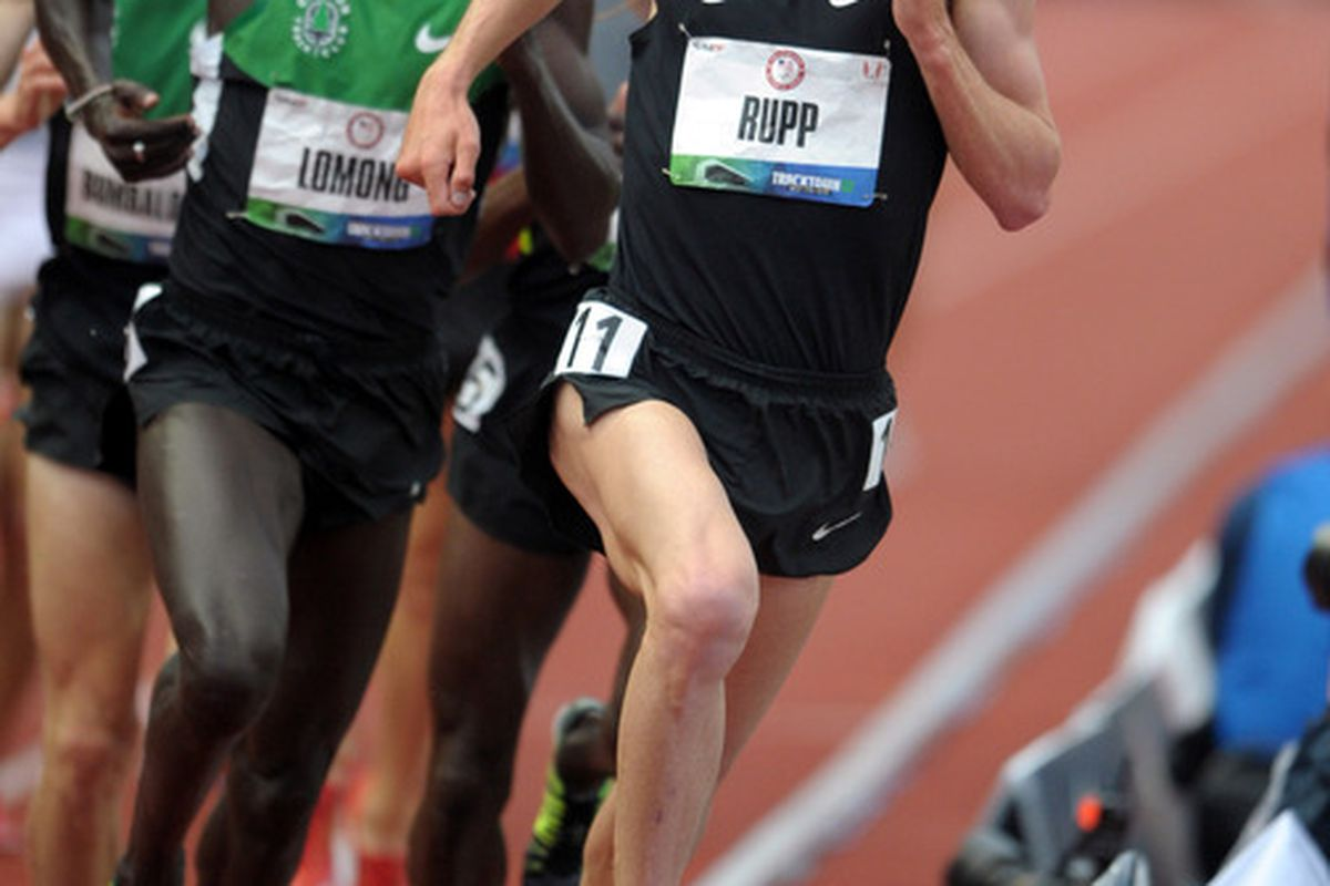 Jun 28, 2012; Eugene, OR, USA; Galen Rupp wins the 5,000m in a meet record 13:22.67 during the 2012 U.S. Olympic Team Trials at Hayward Field. Mandatory Credit: Kirby Lee/Image of Sport-US PRESSWIRE