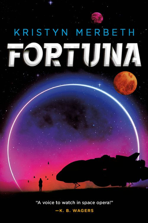 fortuna book cover with a shadowy spaceship and pilot in front of a sunrise