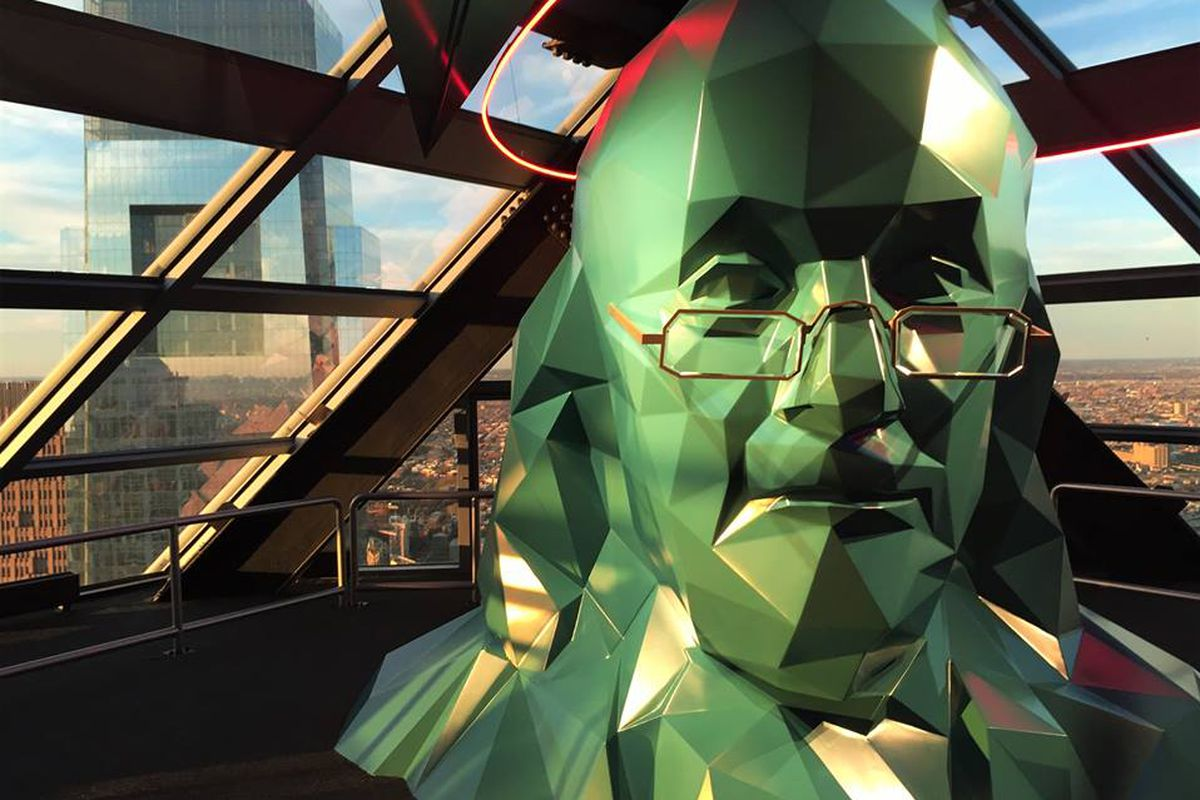 Bust of Ben Franklin at Liberty Place's observation deck