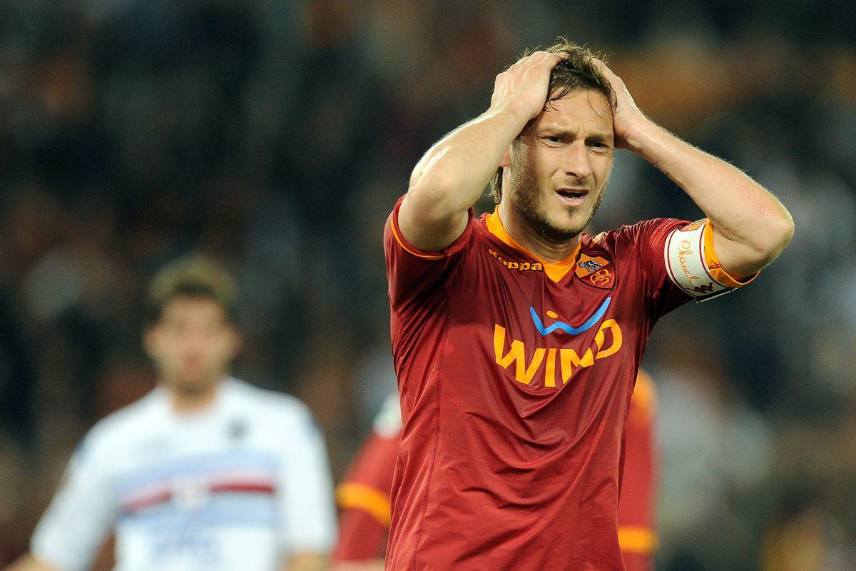 AS Roma's forward Francesco Totti (R) re