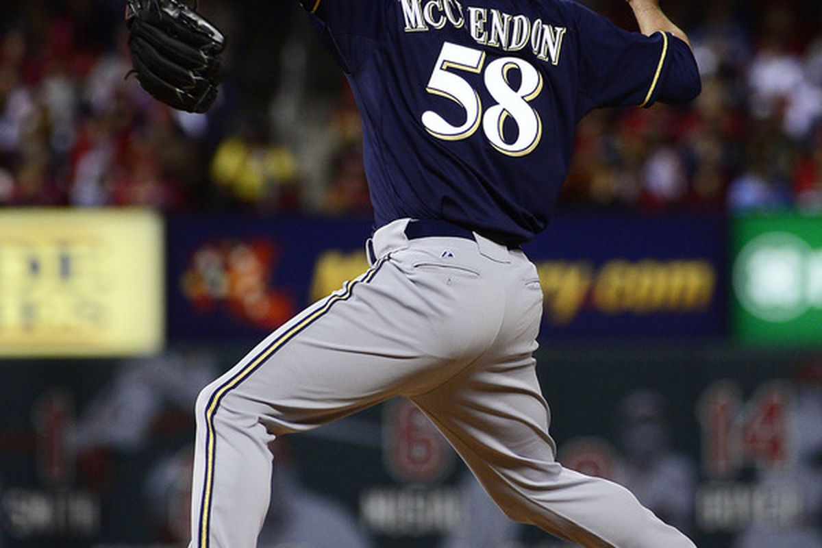 April 27, 2012; St. Louis, MO, USA; Milwaukee Brewers relief pitcher Mike McClendon (58) delivers a pitch against the St. Louis Cardinals at Busch Stadium. Mandatory Credit: Scott Rovak-US PRESSWIRE