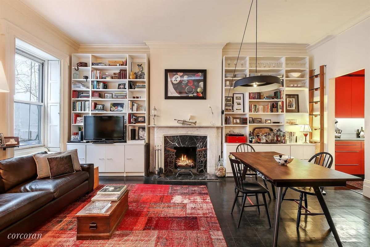 Comfy Gramercy Co Op With Fireplace Built In Bookshelves