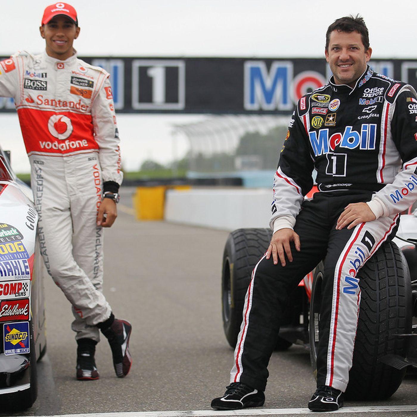 Lewis Hamilton, Tony Stewart Swap Formula One, NASCAR Seats
