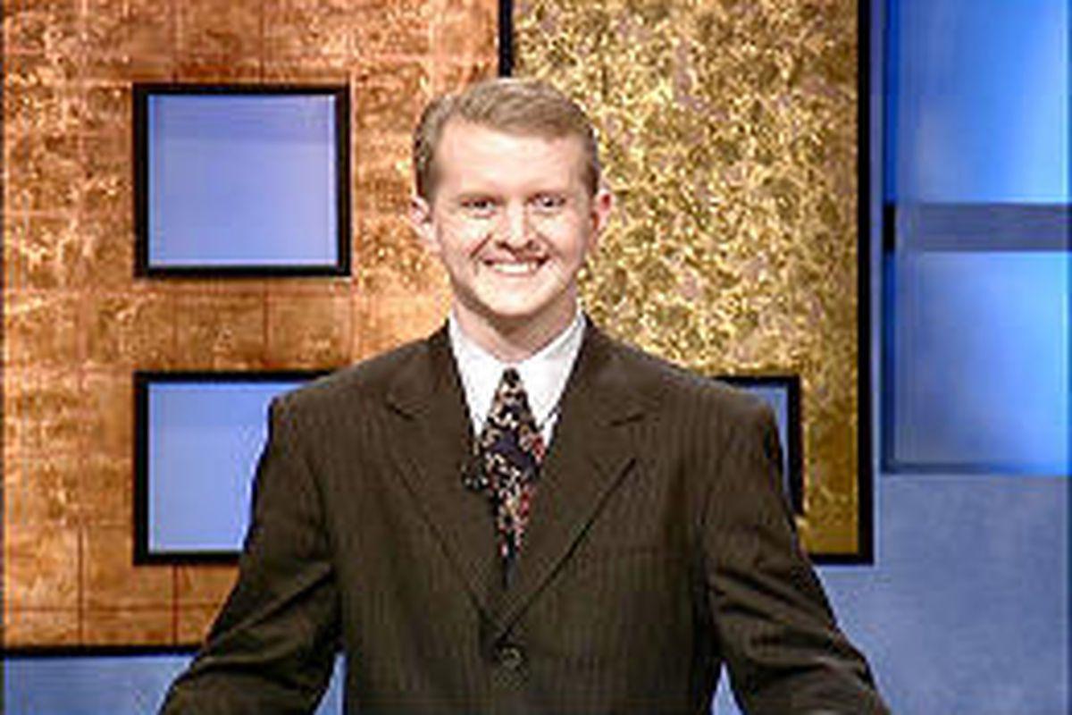 Ken Jennings on 'Jeopardy!' set, where he has won $341,158 so far.