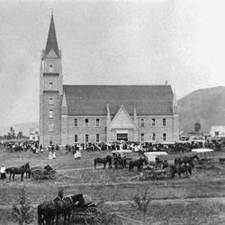 The newly-constructed Star Valley Tabernacle in Afton, Wyoming, attracts LDS Church members to its dedication on Aug. 15, 1909.