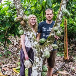 Ritual Chocolate co-founders Anna Davies and Robbie Stout stand underneath a cacao tree during their March 2017 trip to Peru. The purpose of the trip was to learn more about their Peruvian cacao beans.