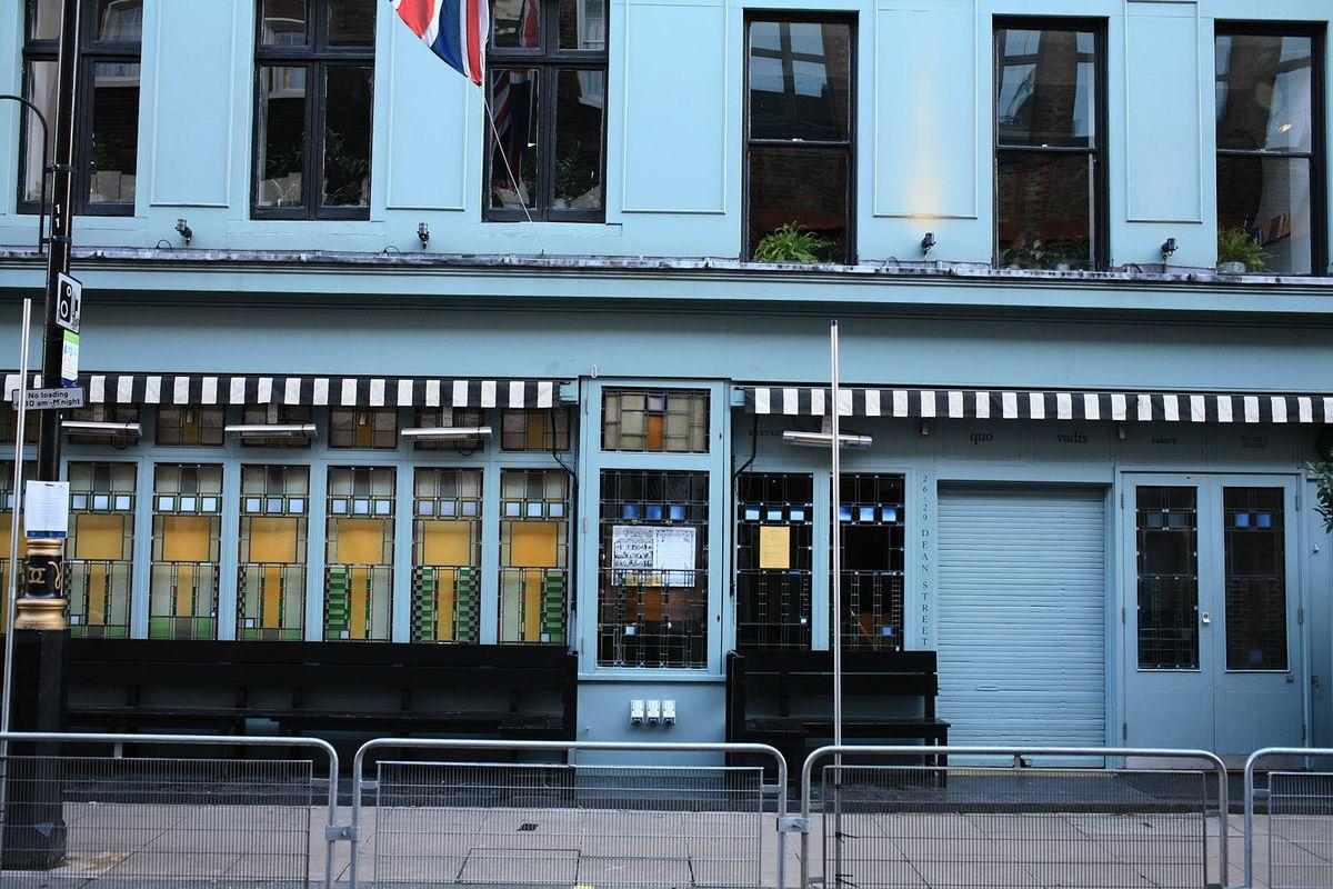 "Quo Vadis, ""the great dame"" of Soho, closed during the coronavirus lockdown in London"