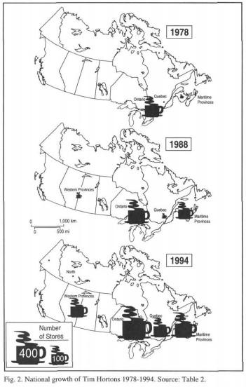 tim horton's map