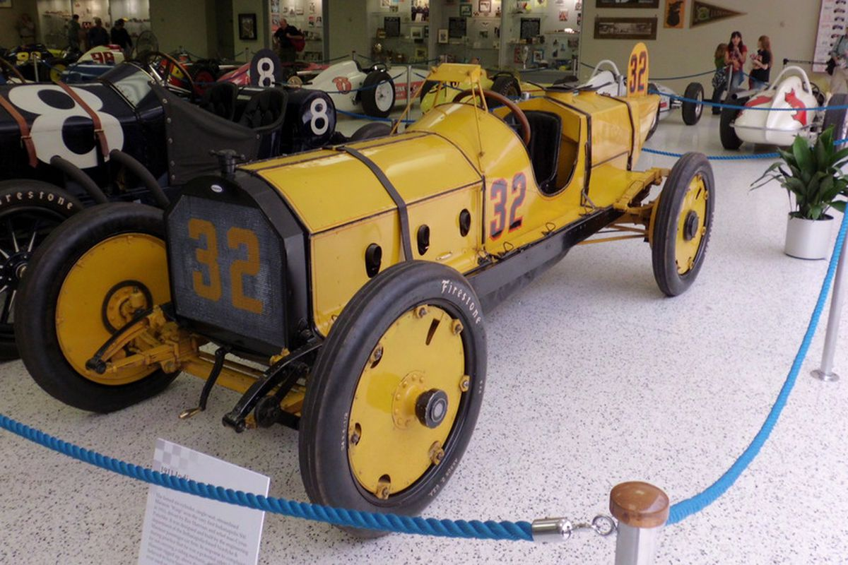 The Marmon Wasp, winner of the 1911 Indianapolis 500, sits on display with other historic IndyCars in the Indianapolis Motor Speedway Museum (Photo: Nate Gruenholz/PopOffValve.com)