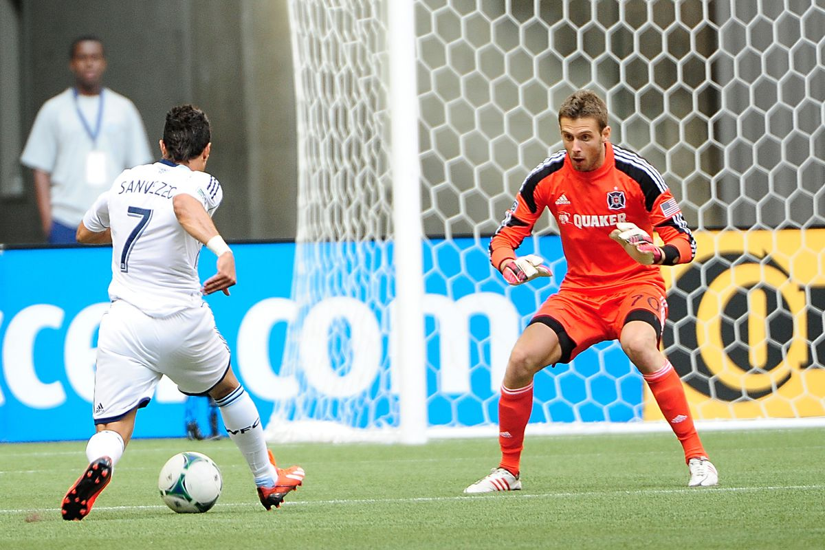 Paolo Tornaghi (R) in action against the Vancouver Whitecaps