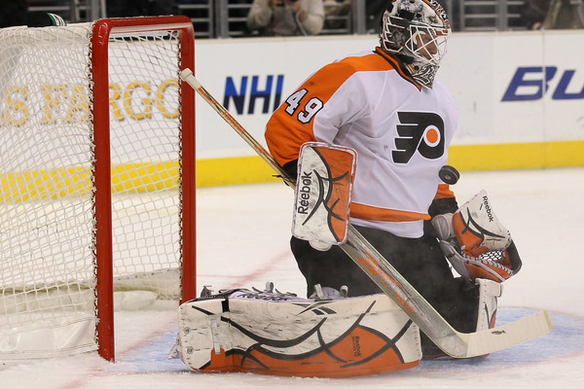 LOS ANGELES CA - DECEMBER 30: Goaltender Michael Leighton #49 of the Philadelphia Flyers makes a save against the Los Angeles Kings at Staples Center on December 30 2010 in Los Angeles California.   (Photo by Stephen Dunn/Getty Images)