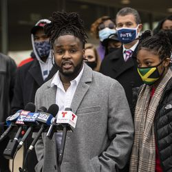 Flanked by family members and attorneys, Tafar Williams talks about his sister, Tafara Williams, during a press conference outside Waukegan's city hall complex, Tuesday morning, Oct. 27, 2020. Tafara Williams, 20, was wounded and her boyfriend, 19-year-old Marcellis Stinnette, was killed when they were both shot by a Waukegan police officer on Oct. 20.