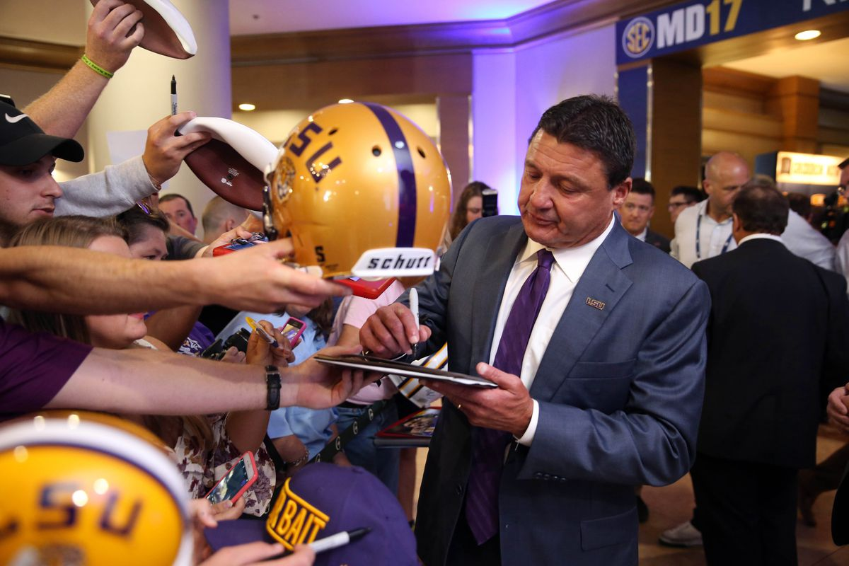Derrius Guice Gives Amazing Ed Orgeron Impersonation