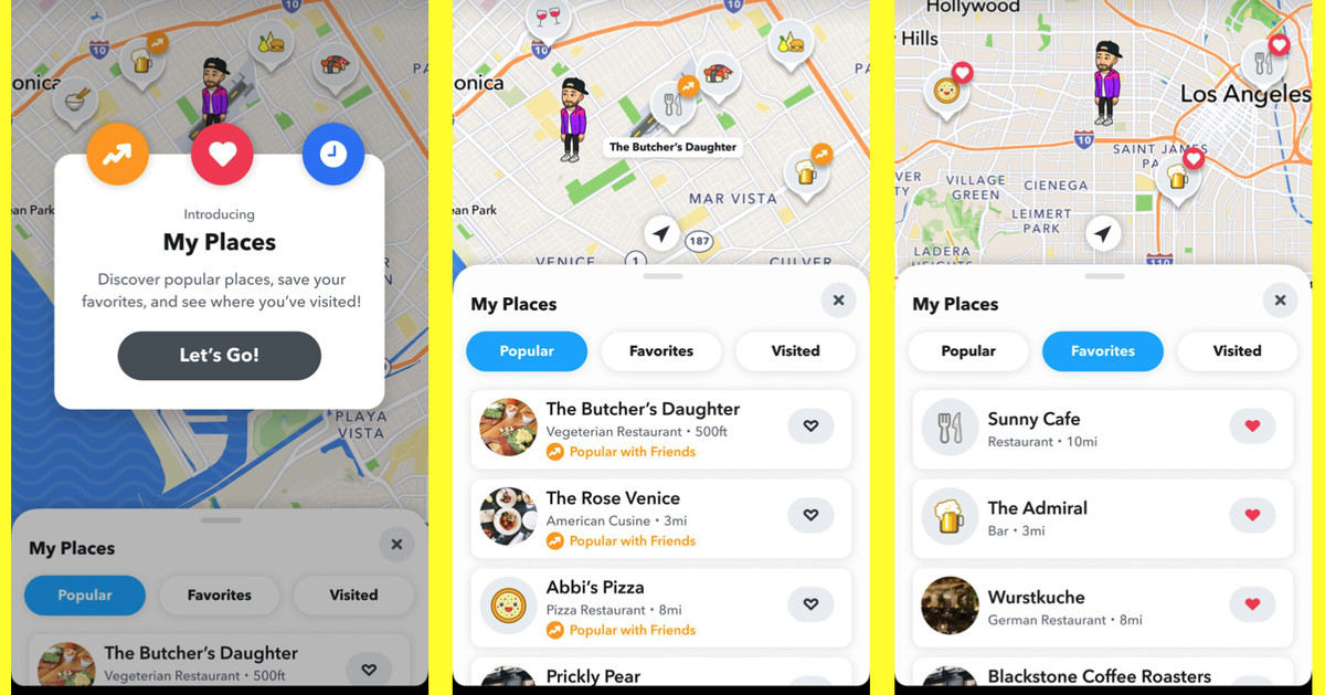 Snapchat's built-in map will start recommending places for you to visit - The Verge
