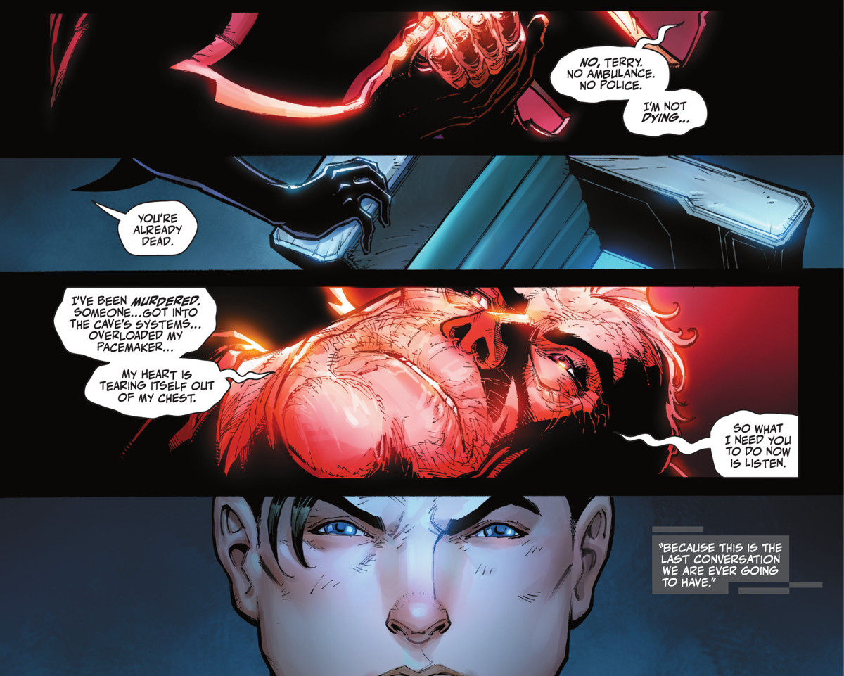 """Bruce Wayne grips Terry McGinness/Batman's hand as he dies, """"I'm not dying. I've been murdered [...] So what I need you to do now is listen,"""" in Batman: Urban Legends #7 (2021)."""