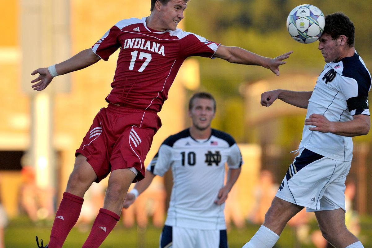 Indiana Hoosiers midfielder Jacob Bushue (17) defends in the first half at Alumni Stadium.