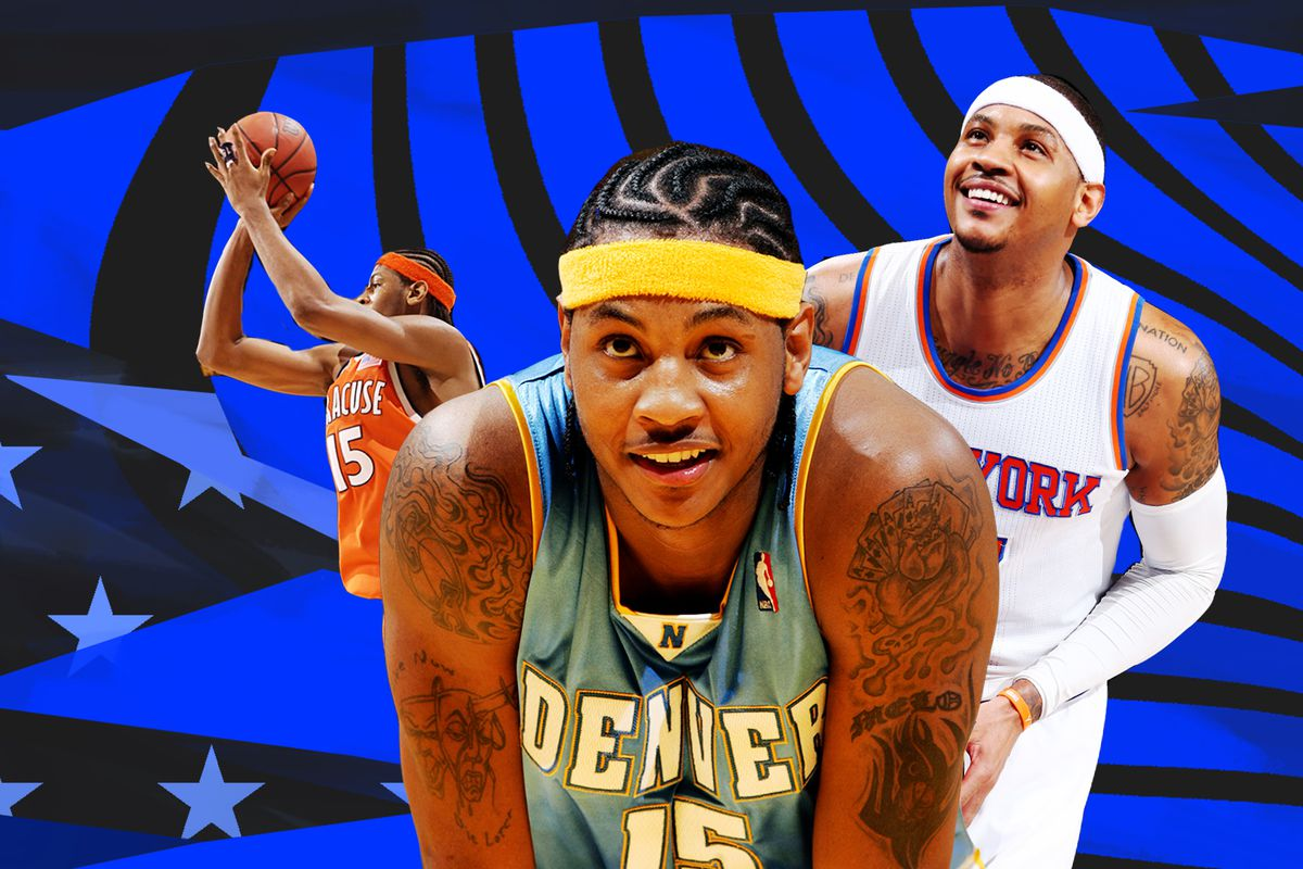 A collage of Carmelo Anthony pictures of the Knicks, Nuggets, and Syracuse.