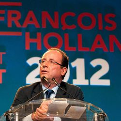 Socialist presidential candidate Francois Hollande delivers his speech during a meeting in Saint-Denis de la Reunion, La Reunion island, Saturday, March, 31, 2012. Hollande is on a two-day campaign visit to the French island in the Indian Ocean.