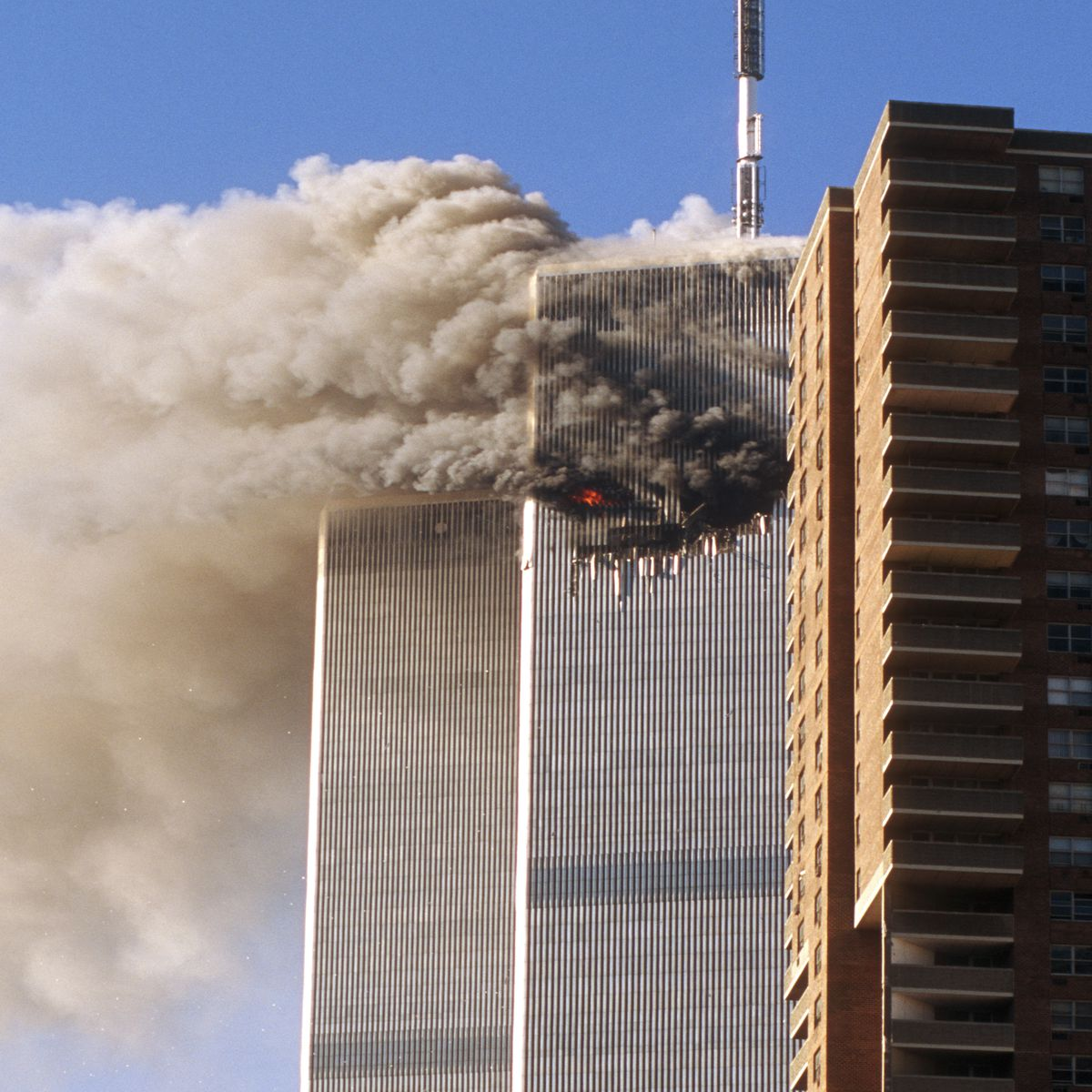 twin towers smoldering