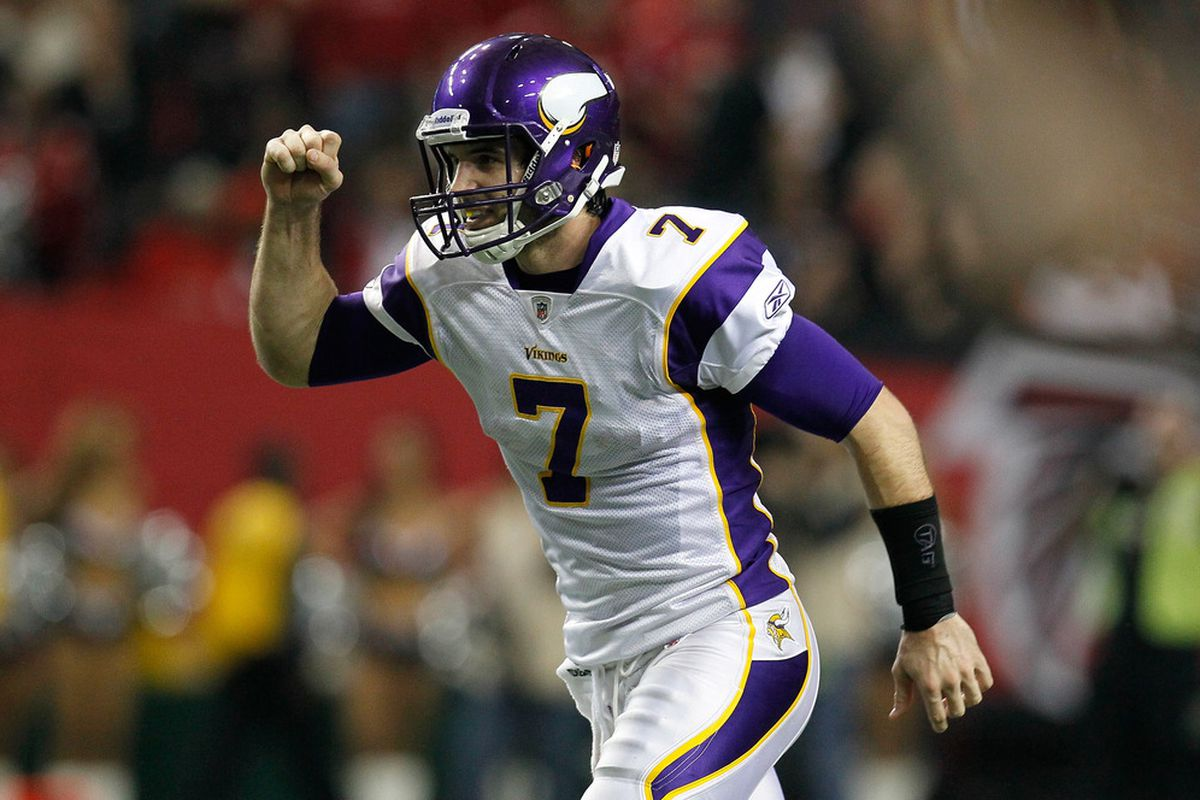 Christian Ponder celebrates the Vikings' selection of Matt Kalil. Or a touchdown against the Falcons back in November. Can't it be both?  (Photo by Kevin C. Cox/Getty Images)