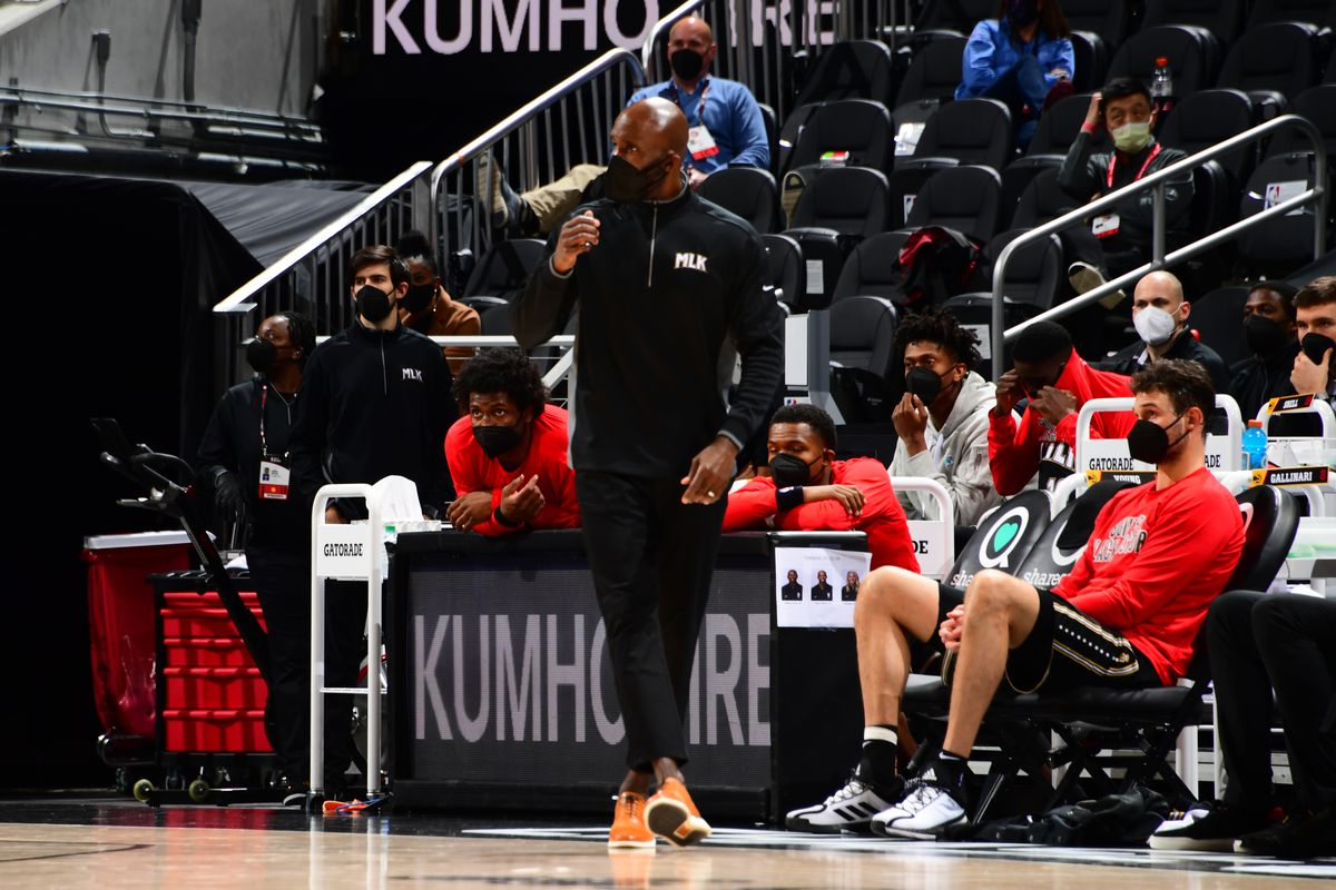 Head Coach Lloyd Pierce of the Atlanta Hawks stands on the sideline during the game against the Toronto Raptors on February 6, 2021 at State Farm Arena in Atlanta, Georgia.