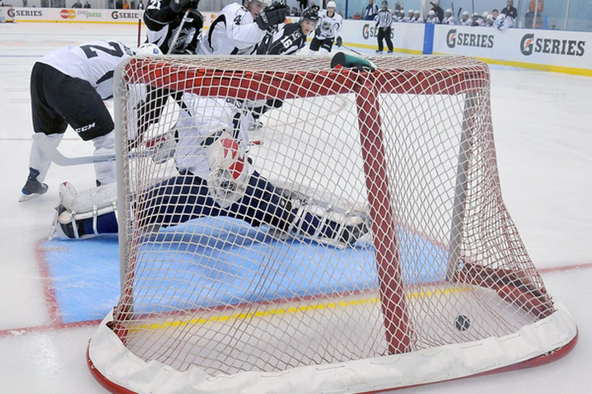 TORONTO ON - The NHL tests a yellow verification line located behind the goal line inside the net as part of the NHL Research Development and Orientation Camp in Toronto Canada.  (Photo by Matthew Manor/Getty Images)