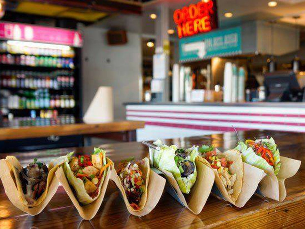 Pretty little tacos, all lined up in a row at Velvet Taco