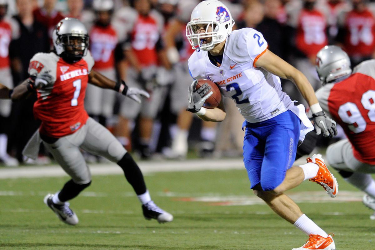 LAS VEGAS, NV - NOVEMBER 05:  Matt Miller #2 of the Boise State Broncos runs in for a touchdown against the UNLV Rebels during their game at Sam Boyd Stadium November 5, 2011 in Las Vegas, Nevada.  (Photo by Ethan Miller/Getty Images)
