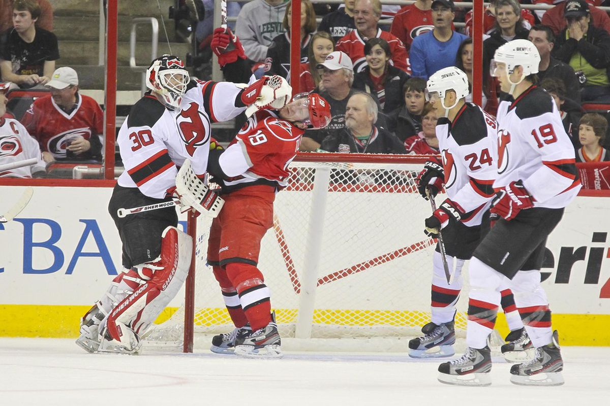 """I just chose this picture of Martin Brodeur giving a Cane """"the business"""" for kicks. You know, kicks.  Brodeur will start tonight against Detroit.  Mandatory Credit: James Guillory-US PRESSWIRE"""