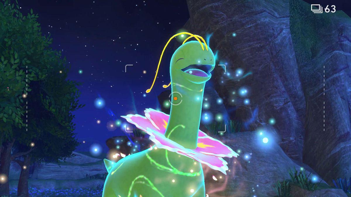 A Meganium glows with Illumina energy in New Pokémon Snap