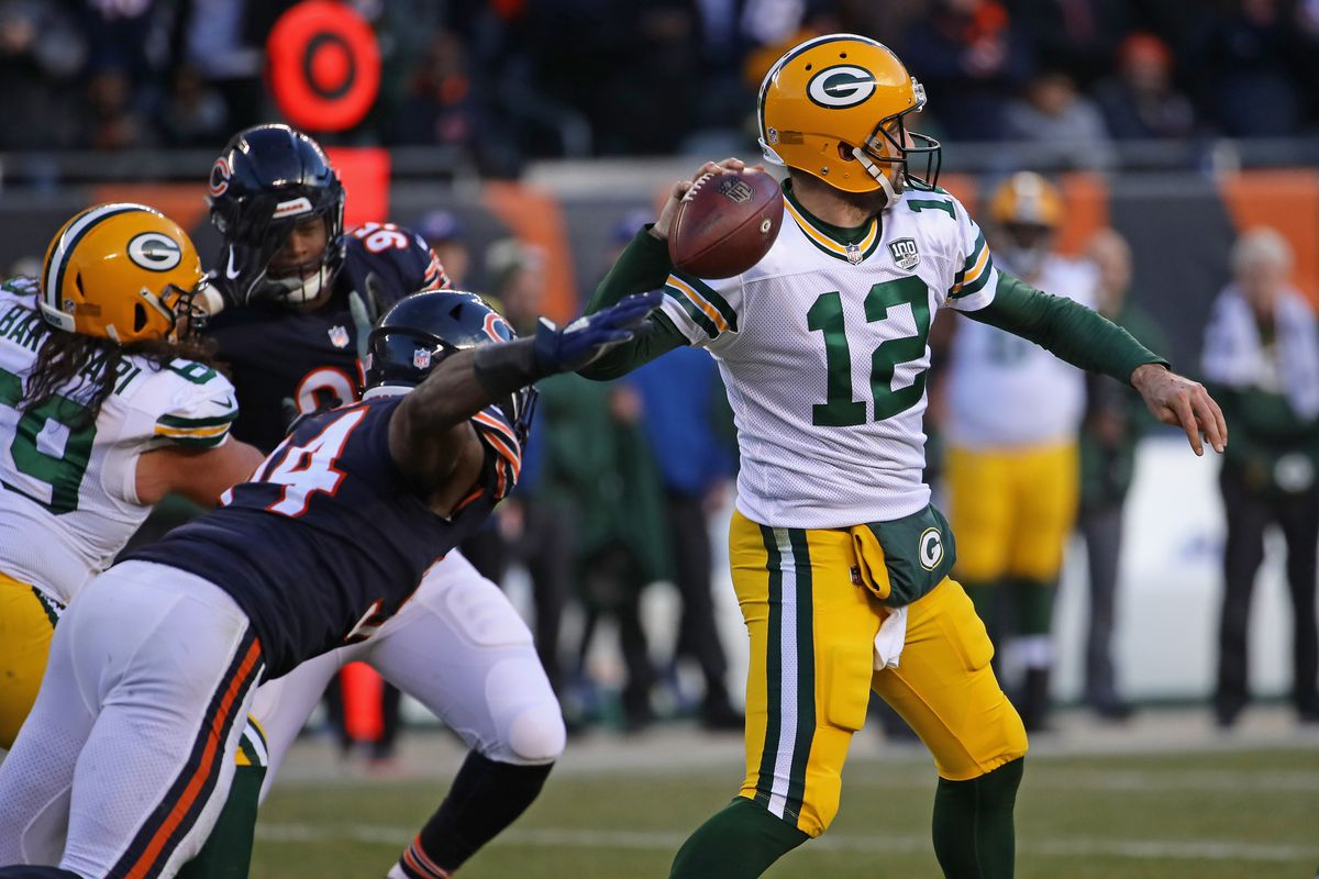 7e73eaa63bb Leonard Floyd #94 of the Chicago Bears rushes Aaron Rodgers #12 of the  Green Bay Packers at Soldier Field on December 16, 2018 in Chicago,  Illinois.