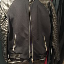 Leather and neoprene jacket, $210 (from $840)
