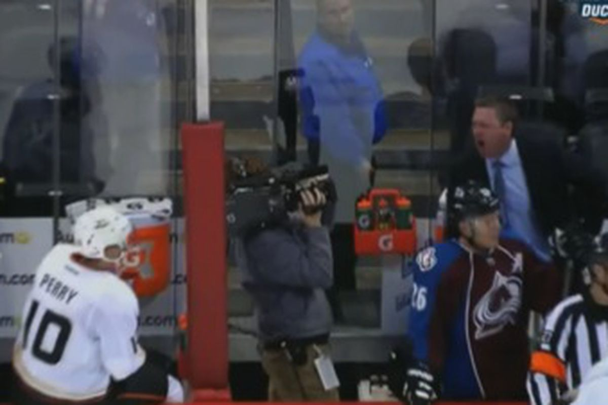 And this is why we love Corey Perry, giving Roy shit from the bench