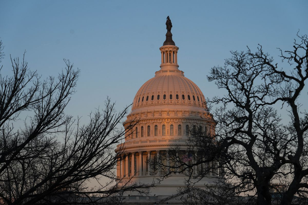 The exterior of the U.S. Capitol building is seen at sunrise on February 8, 2021 in Washington, DC.