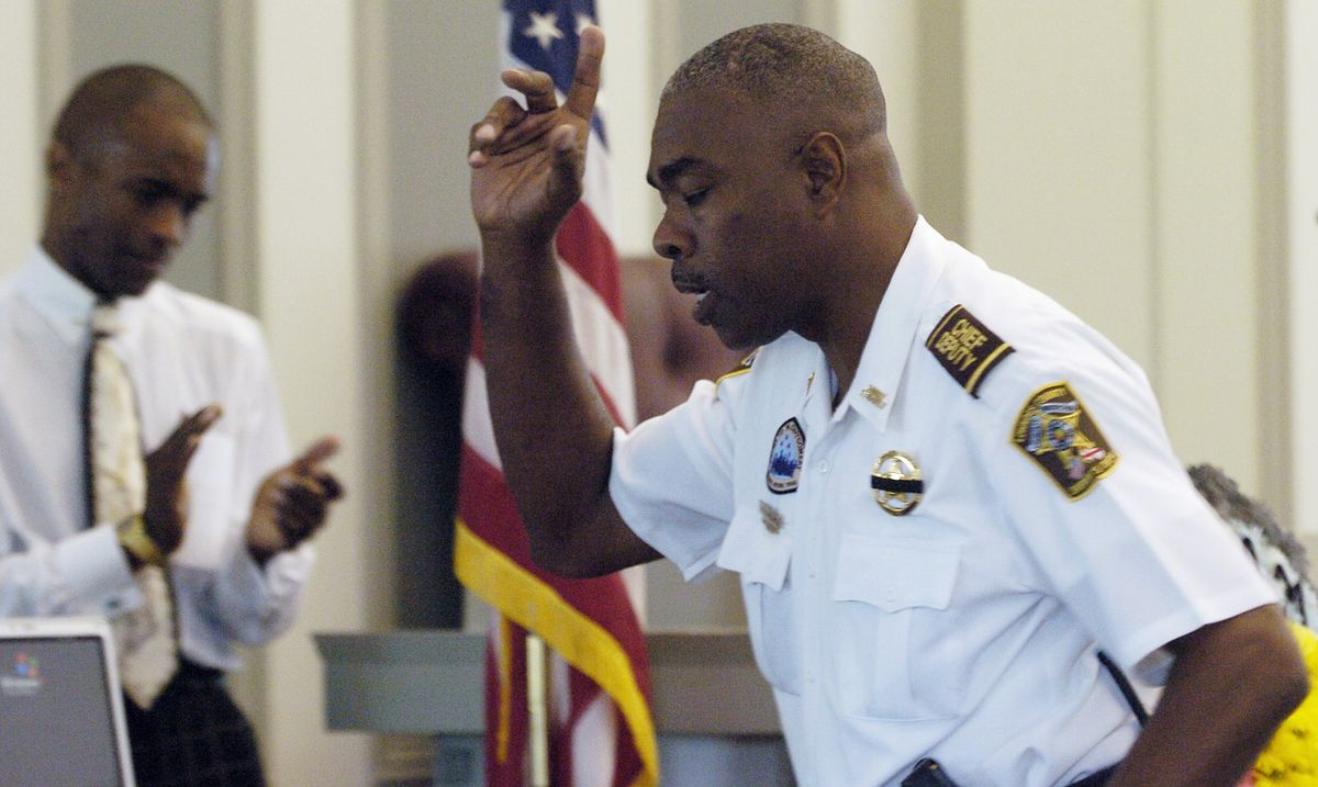 In this July 20, 2007 photo, Lowndes County Chief Deputy John Williams speaks during the memorial service for Lowndes County Sheriff Willie Vaughner at the Lowndes County Courthouse in Hayneville, Ala.