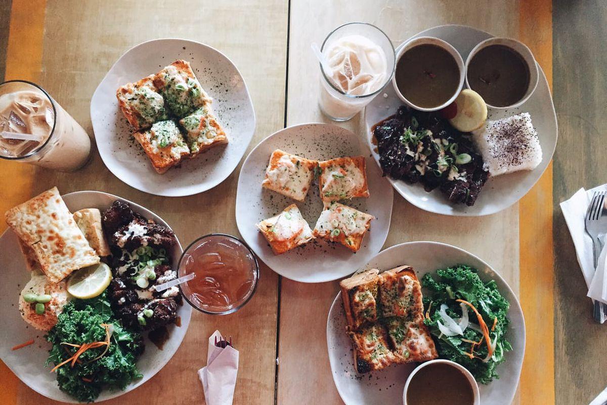 Sa-ten's toasts, chicken katsu, and iced Vietnamese coffee