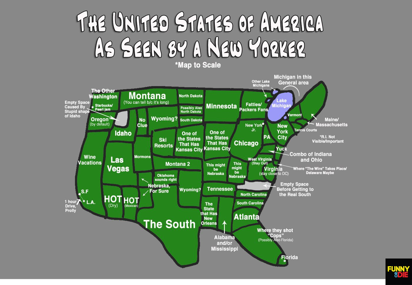 Us Map According To New Yorkers The Map Of America As Seen By A New Yorker   Funny Or Die