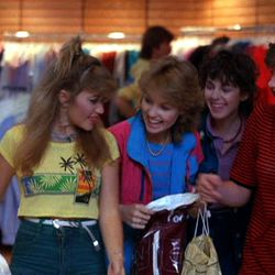 Montage of mall glory days, complete with a price tag of $195 and shots of a credit card imprinter. Valley Girls (1983)