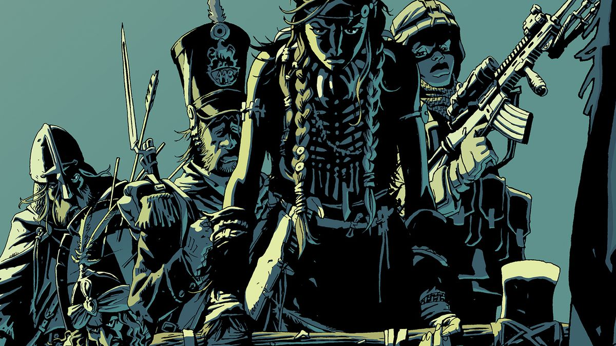 A viking, a warlord, a British soldier, a native american warrior, and a soldier with a machine gun stand in a V on the cover of The Old Guard: Tales Through Time