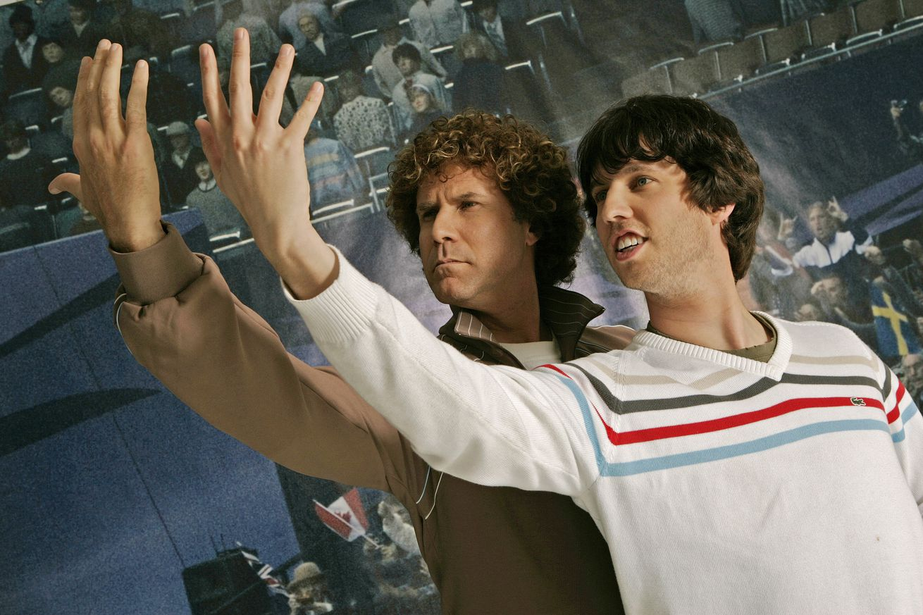 03/11/2007.Beverly Hills. Blades of Glory stars Will Ferrell (left) and Jon Heder strike up poses a