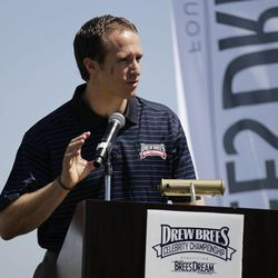 New Orleans Saints football quarterback Drew Brees speaks at a news conference for his charity golf tournament Tuesday, April 10, 2012, in Carlsbad, Calif.